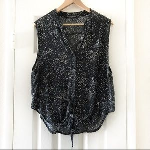 Brandy Melville Button Down Front Tie Sheer Top
